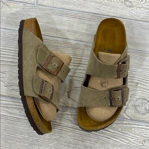 Birkenstock Arizona Soft Bed Taupe Suede Sandals